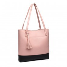 E1914-MISS LULU NOIR SAC À MAIN TASSEL ROSE
