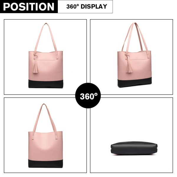E1914 - Miss Lulu Black Base Tassel Tote Bag - Pink