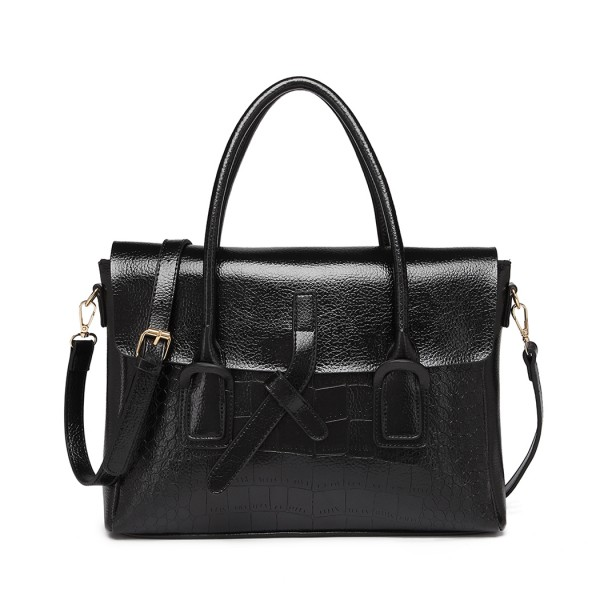 E1915 - Miss Lulu Subtle Croc Print Briefcase Messenger Bag - Black