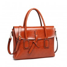 E1915 - Miss Lulu Subtle Croc Print Briefcase Messenger Bag - Brown