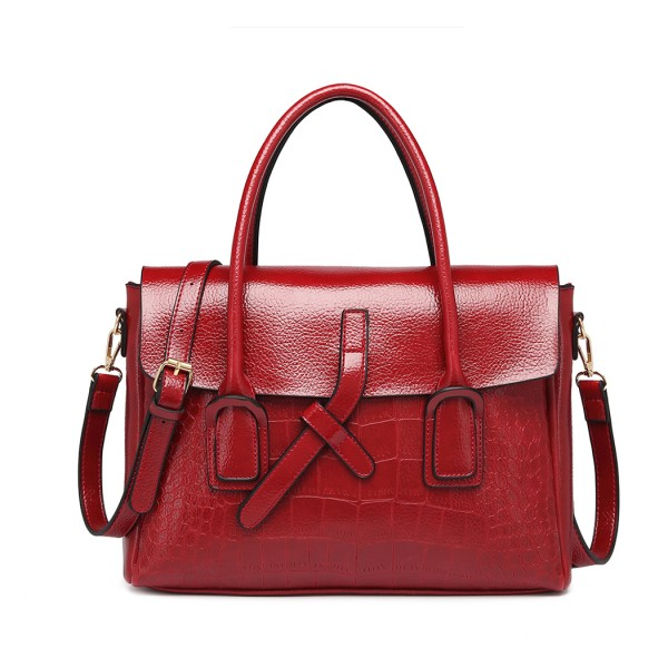E1915 - Miss Lulu Subtle Croc Print Briefcase Messenger Bag - Burgundy
