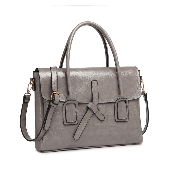 E1915 - Miss Lulu Subtle Croc Print Briefcase Messenger Bag - Grey
