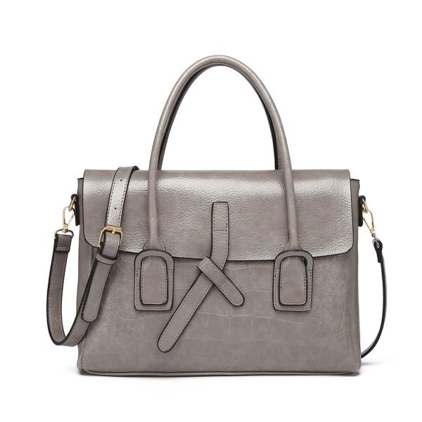 E1915 - Miss Lulu Subtle Croc Print Briefcase Messenger Bag - Grey
