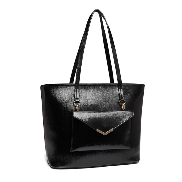 E1916 - Miss Lulu Tote And Envelope Clutch Two Piece Set - Black