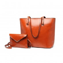 E1916 - Miss Lulu Tote And Envelope Clutch Two Piece Set - Brown
