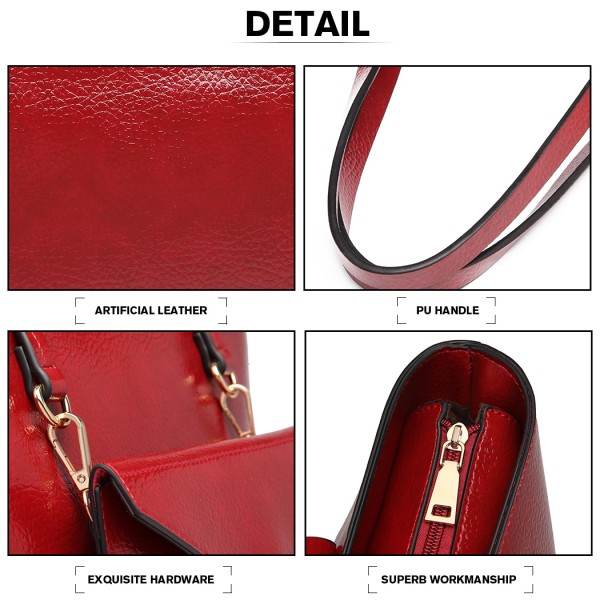 E1916 - Miss Lulu Tote And Envelope Clutch Two Piece Set - Burgundy
