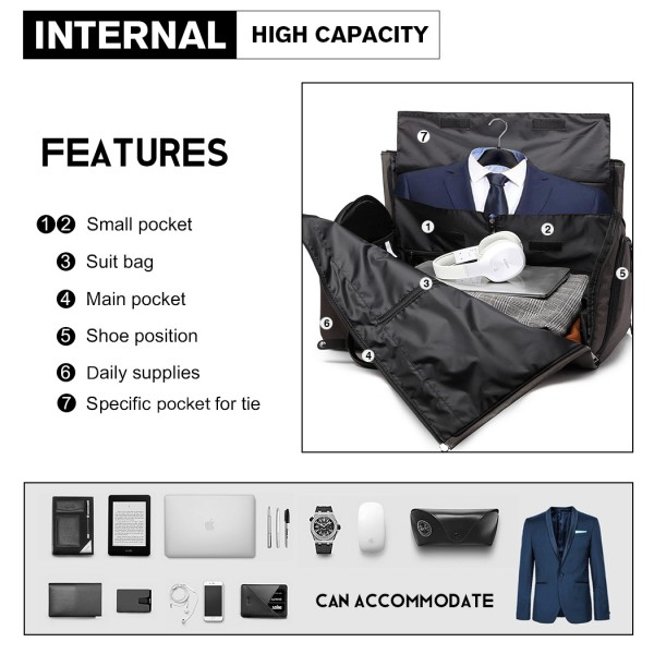 E1918 - Kono Travel Suit Garment Duffel Bag - Grey