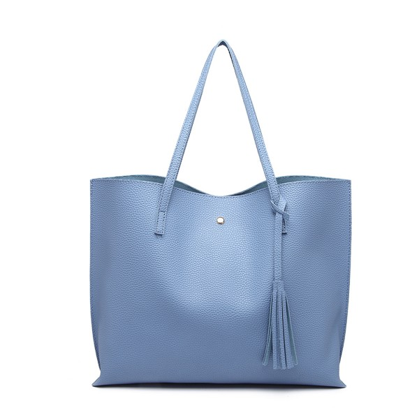 E1919 - Miss Lulu Soft Pebbled Leather Look Tote Bag - Blue