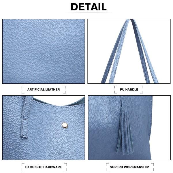 Pani Lulu Soft Pebbled Leather Look Tote Bag- Blue