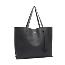 Panno Lulu Soft Pebbled Leather Loke Tote Bag- Black