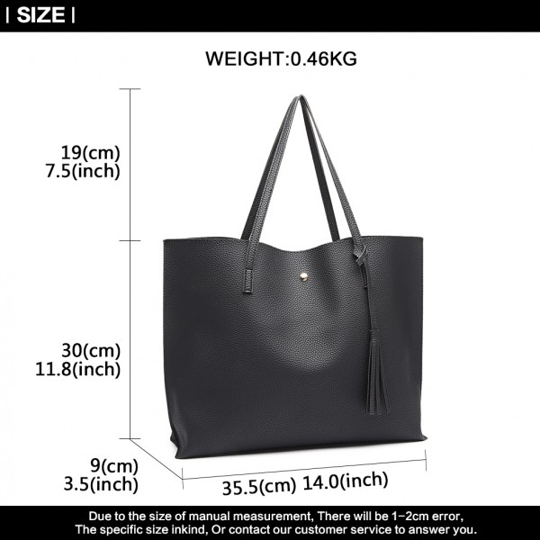 E1919 - Miss Lulu Soft Pebbled Leather Look Tote Bag - Black