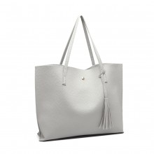 E1919 - Miss Lulu Soft Pebbled Leather Look Tote Bag - Grey