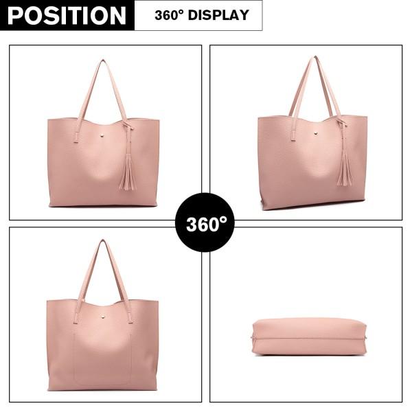 E1919 - Miss Lulu Soft Pebbled Leather Look Tote Bag - Pink