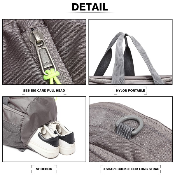 E1921-MISS LULU MULTIFUNCTIONAL WATERPROOF CLOTH BACKPACK AND DUFFEL BAG GREY