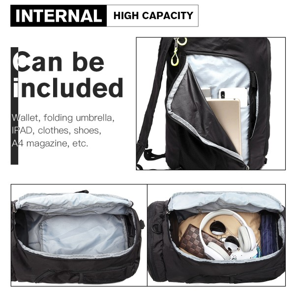 E1921-KONO MULTIFUNCTIONAL WATERPROOF CLOTH BACKPACK AND DUFFEL BAG BLACK