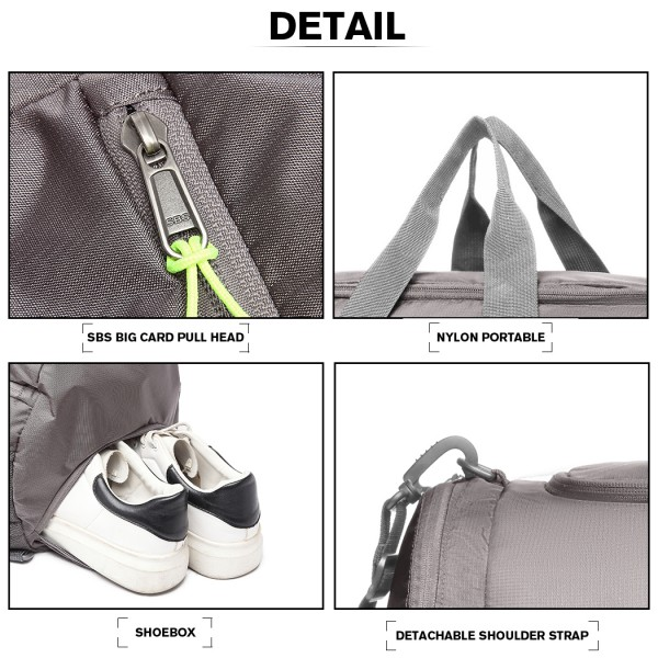 E1921-MISS LULU MULTIFUNCTIONAL WATERPROOF CLOTH GYM SPORT BACKPACK AND DUFFEL BAG GREY