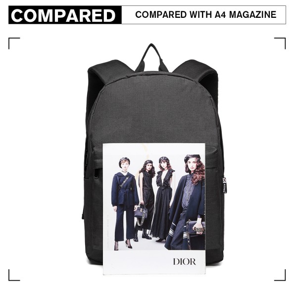 E1930 - KONO LARGE FUNCTIONAL BASIC BACKPACK - BLACK