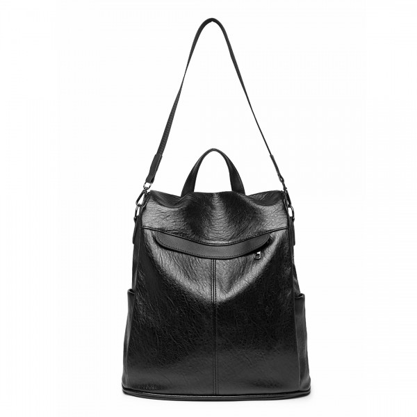 E1932 - KONO CLASSIC STYLE TEXTURED ANTI-THEFT BACKPACK OR SHOULDER BAG - BLACK