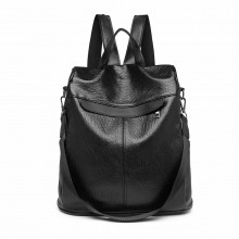 E1932-KONO CLASSIC STYLE TEXTURED ANTI-THEFT BACKPACK OR SHOULDER BAG BLACK