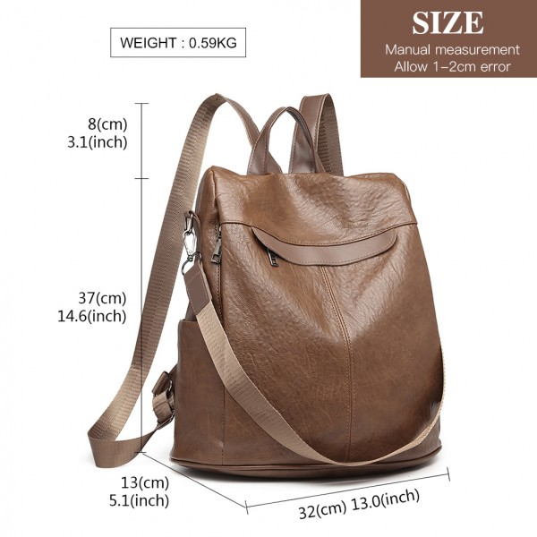 E1932 - Kono Classic Style Textured Anti-Theft Backpack Or Shoulder Bag - Brown