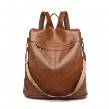 E1932-KONO Sac à dos ou sac à bandoulière anti-vol texturé de style classique, MARRON