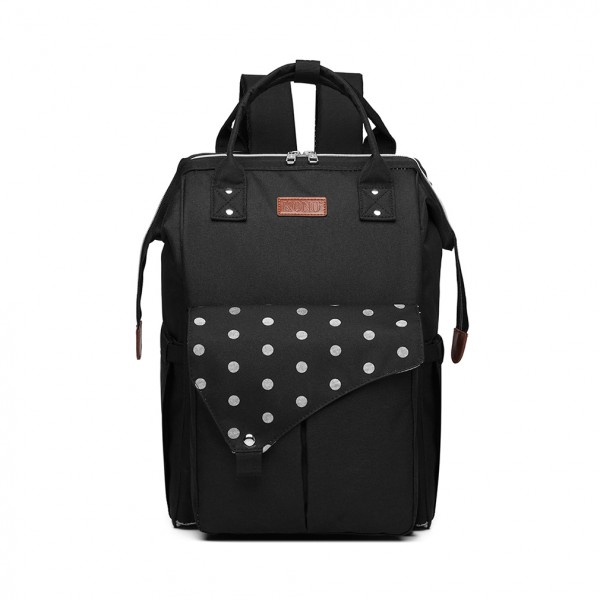 E1945 - KONO POLKA DOT MATERNITY BACKPACK BAG WITH USB CONNECTIVITY - BLACK