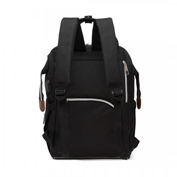 E1945 - KONO POLKA DOT MATERNITY BACKPACK BAG WITH USB CONNECTIVITY - BLACK