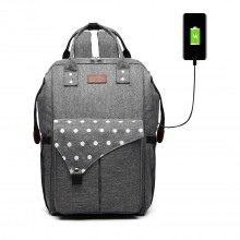 E1945 - KONO POLKA DOT MATERNITY BACKPACK BAG WITH USB CONNECTIVITY - GREY