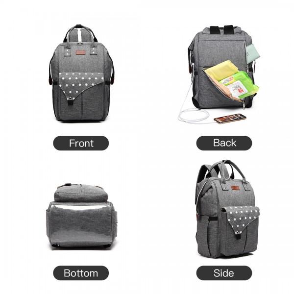 E1945 - KONO POLKA DOT MATERNITY BACKPACK BAG WITH USB CONNECTIVITY - GREY