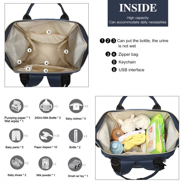 E1945 - KONO POLKA DOT MATERNITY BACKPACK BAG WITH USB CONNECTIVITY - NAVY