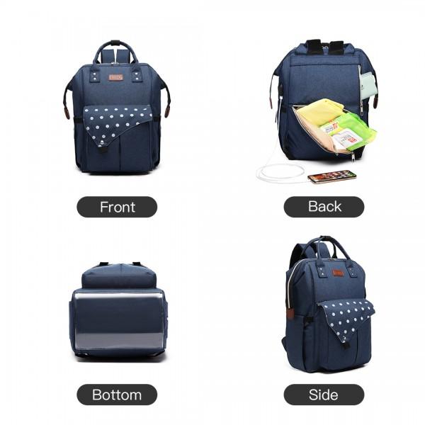 E1945 - KONO POLKA DOT MATERNITY BACKPACK BAG WITH USB CONNECTIVITY - NAVY