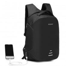 E1946-KONO SAC À DOS INTERFACE DE CHARGE USB RÉFLECTIF - NOIR