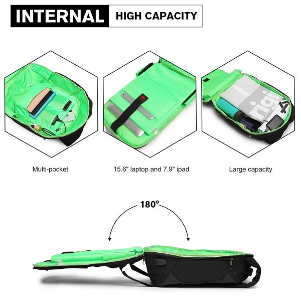 E1946-KONO REFLECTIVE USB CHARGING INTERFACE BACKPACK - BLACK