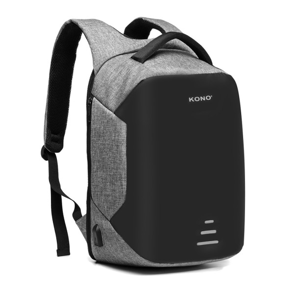 E1946-KONO REFLECTIVE USB CHARGING INTERFACE BACKPACK - GREY