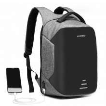 E1946-KONO SAC A DOS INTERFACE DE CHARGE USB REFLECHISSANT - GRIS