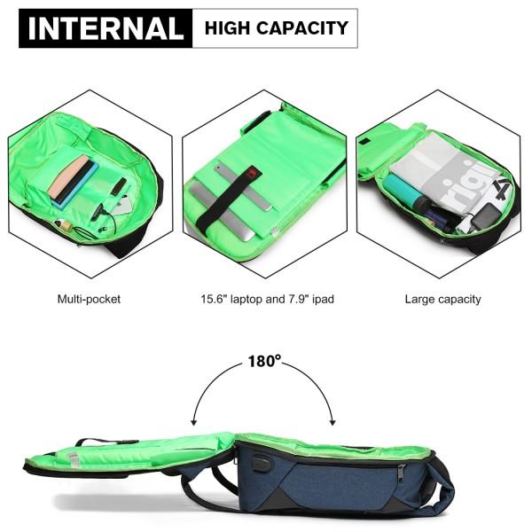 E1946-KONO REFLECTIVE USB CHARGING INTERFACE BACKPACK - NAVY