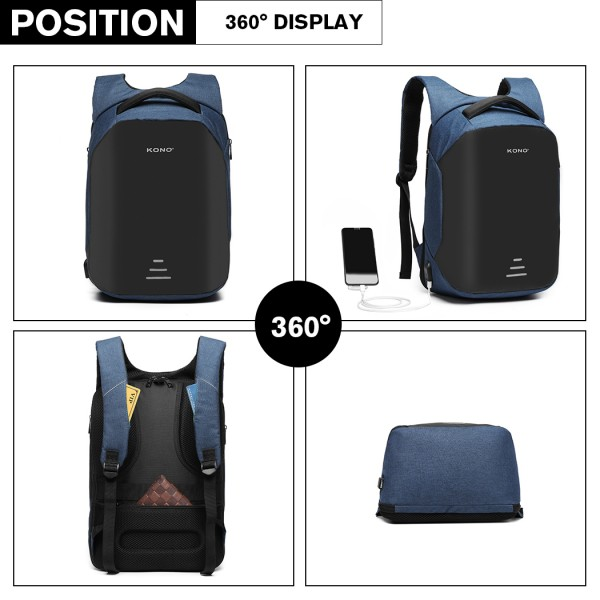 E1946-KONO REFLECTIVE USB CHARGING INTERFACE BACKPACK - NAVY