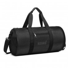 E1956 - Kono Polyester Barrel Duffle Gym/Sports Bag - Black