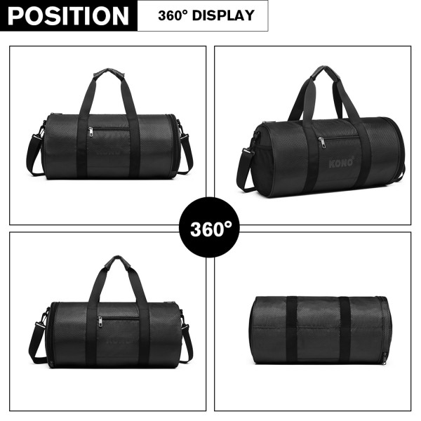 E1956 - Kono Polyester Barrel Duffle Gym/Sports Bag - Black