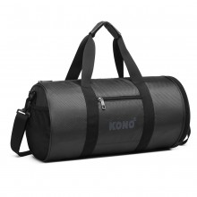 E1956 - Kono Polyester Barrel Duffle Gym/Sports Bag - Grey