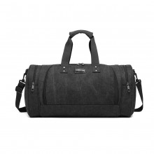 E1957 - Kono Canvas Barrel Duffle Travel Bag - Black