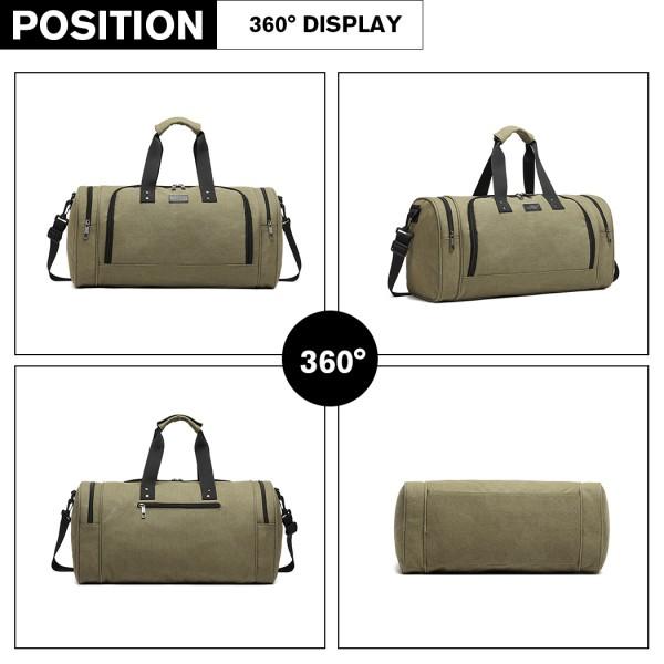 E1957 - Kono Canvas Barrel Duffle Travel Bag - Green