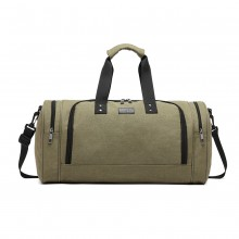 E1957 - Kono Canvas Barrel Duffle Travel Bag - Green