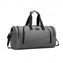 E1957 - Kono Canvas Barrel Duffle Travel Bag - Grey