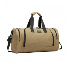 E1957 - Kono Canvas Barrel Duffle Travel Bag - Khaki