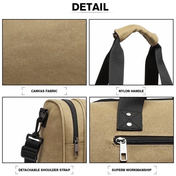 E1957 - Kono Canvas Barrel Duffle Travel Bag - Khaki