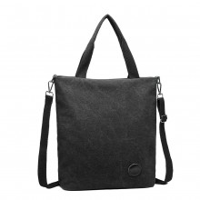 E1965-KONO LARGE CANVAS UNISEX MESSENGER BAG - BLACK