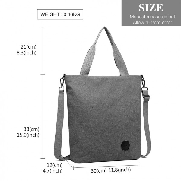 E1965 - Kono Large Canvas Unisex Messenger Bag - Grey
