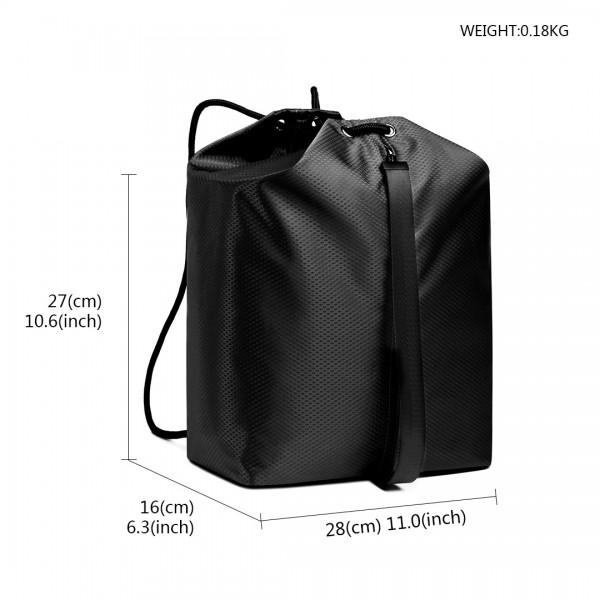 E1966 - KONO MULTI ACCESS DRAWSTRING BACKPACK - BLACK