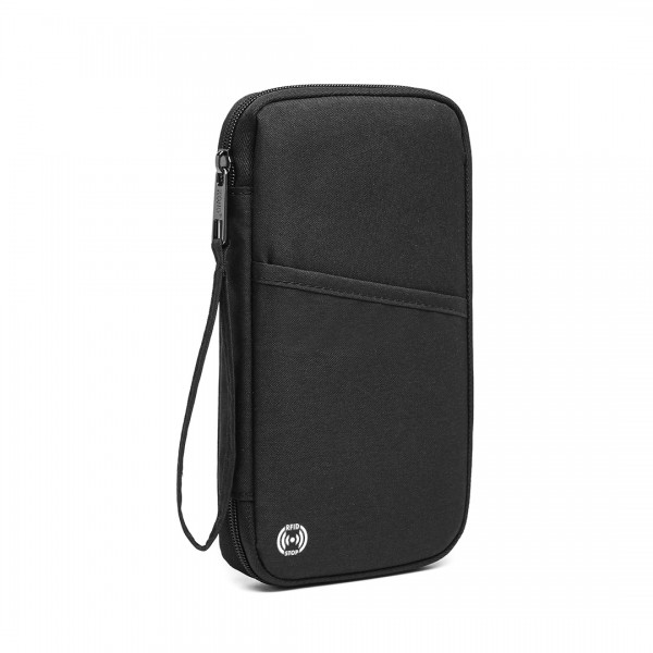 E1968 - Kono RFID-Blocking Travel Wallet - Schwarz